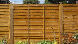 lal fence panels in garden