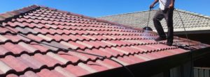 Roof coating applied to roof tiles