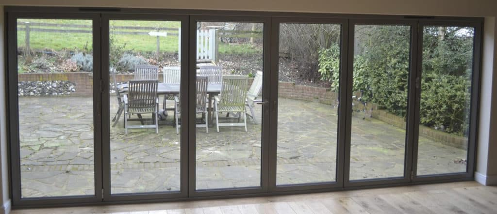 Brown bifolding doors