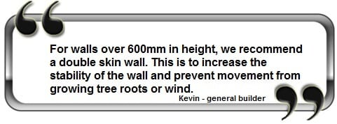 Information about garden wall thickness