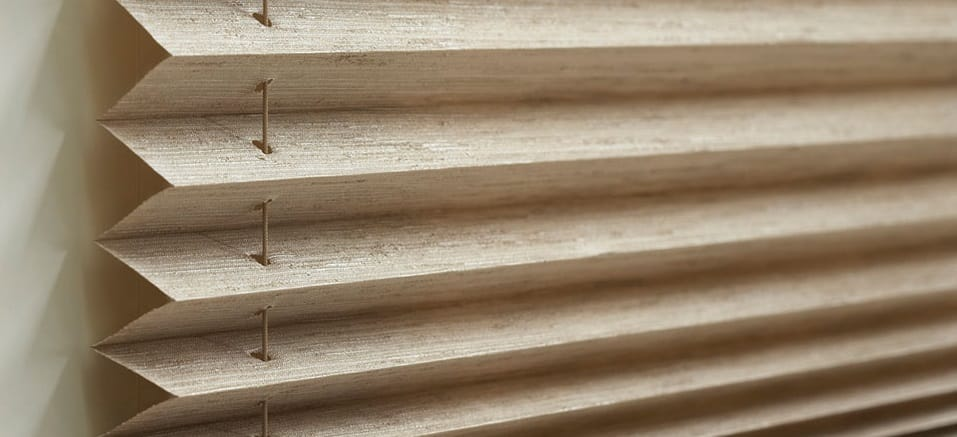 pleated brown blinds