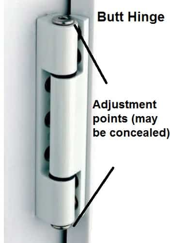 Butt hinge adjustment points