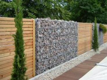 Gabion and timber fences