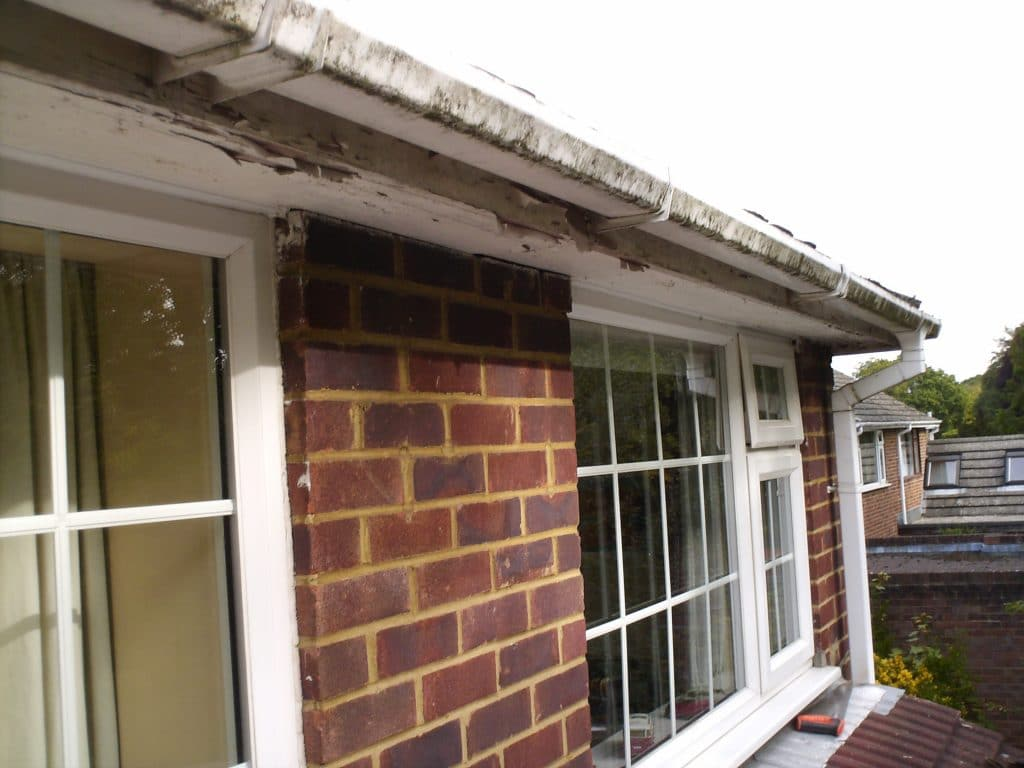 Old roofline boards and guttering