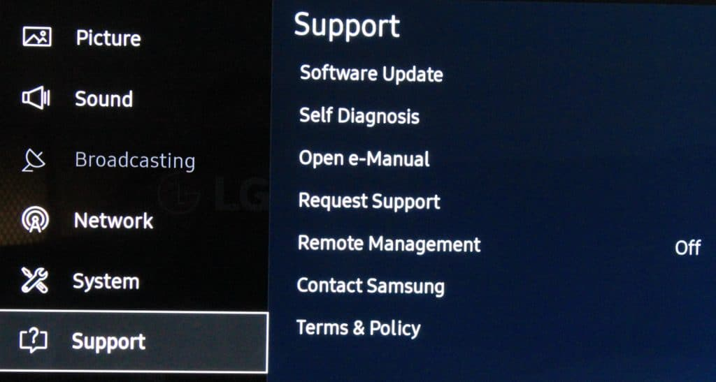Samsung TV software update
