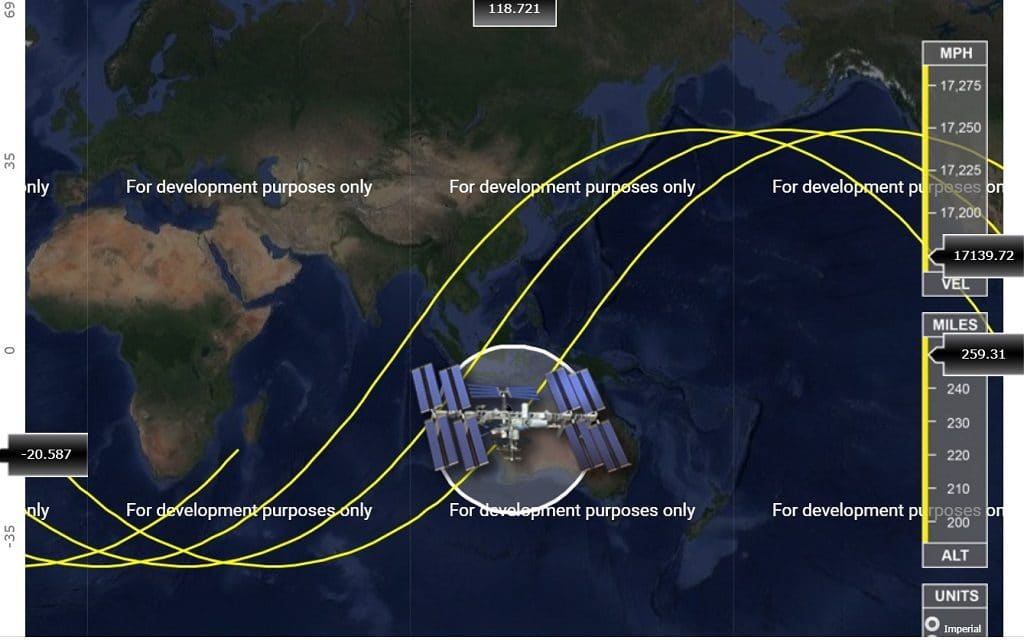 Space station tracker screenshot